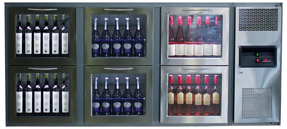Weinausschanktheken mit Glasschubladenfronten